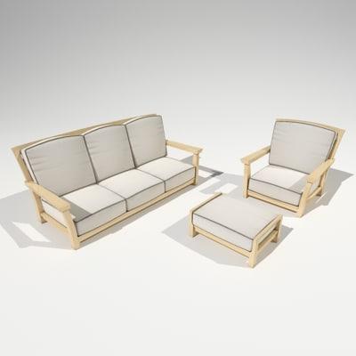 mandalay outdoor furniture set 3d model