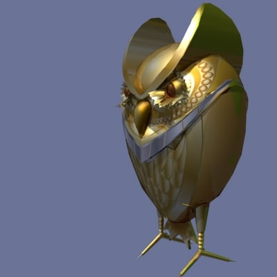 3d golden owl