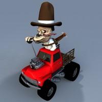 3d model hillbilly weird wheels
