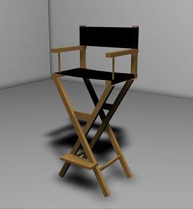 3d model director chair silla cine