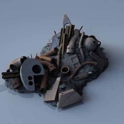 3d industrial scrap metal pile model