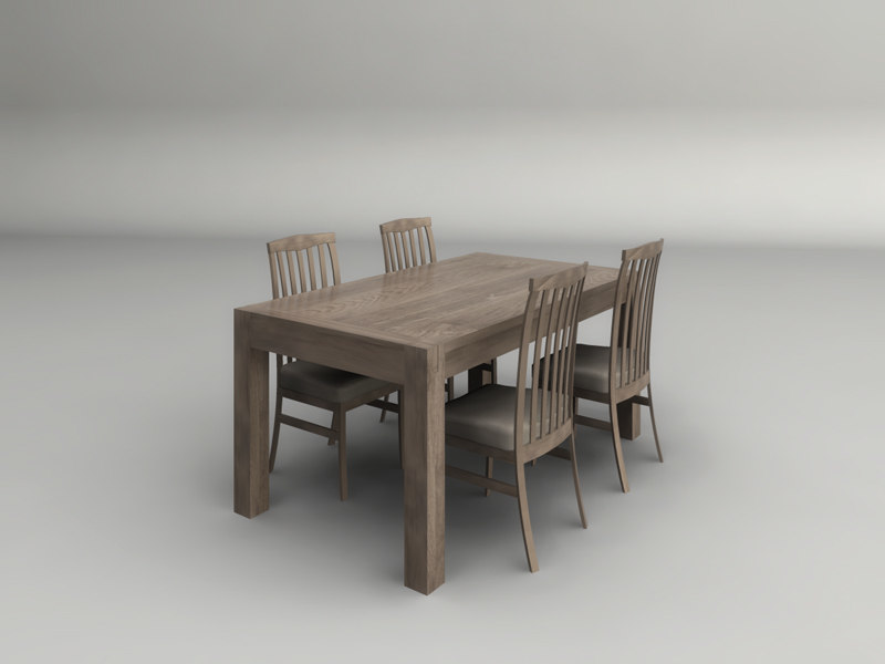 3d model light wood dining table