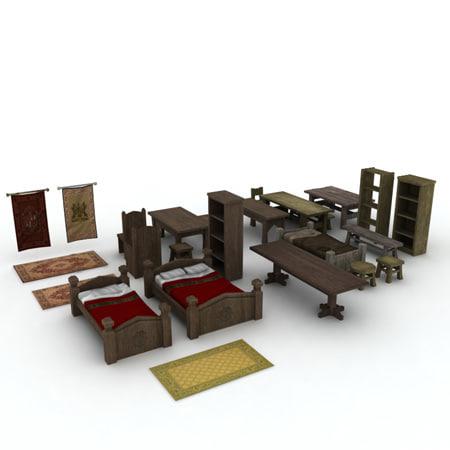 3d model medieval furniture