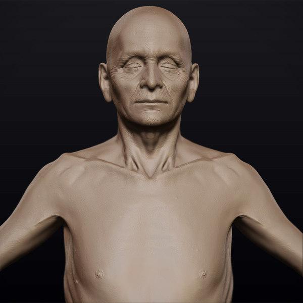 3d model hyper-real old man anatomy