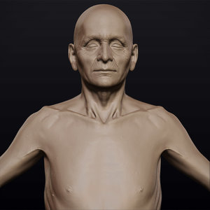 3d model hyper-real old man anatomy
