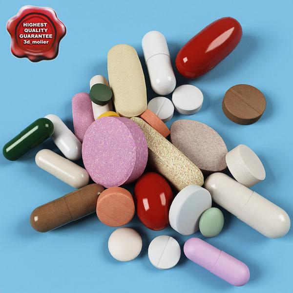 pills modelled 3ds