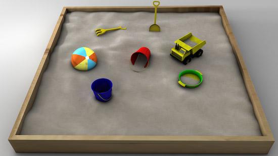 3d sandbox sand beach model