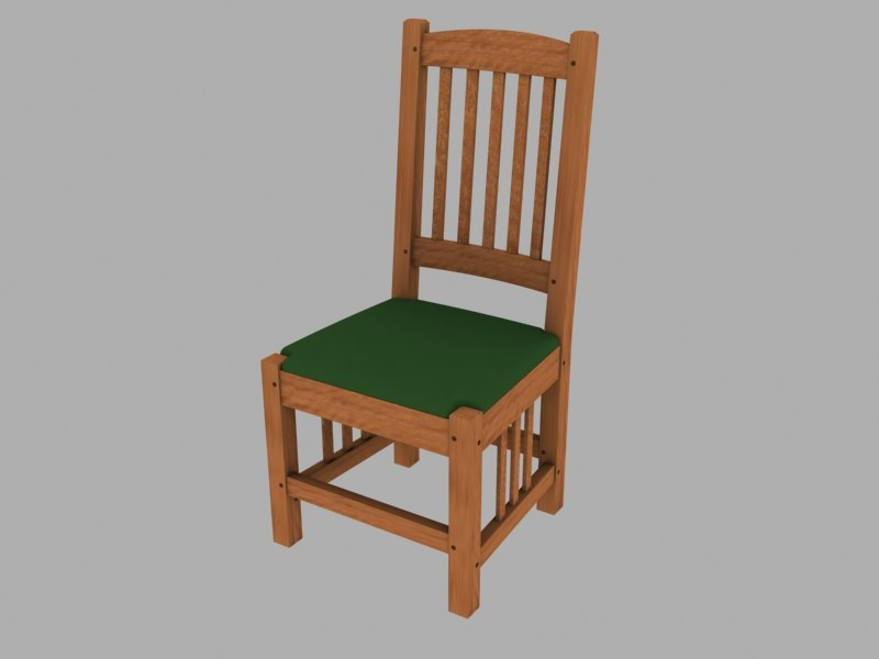 3d model chair wooden arts