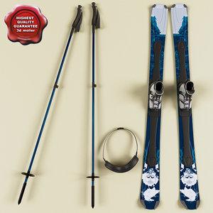 ski set modelled 3d model