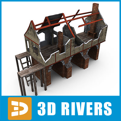 piled building ruins 3d model