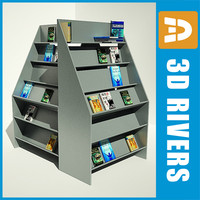 bookshelf books 3d obj