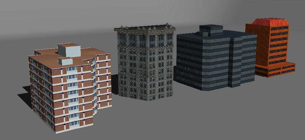obj distant buildings set