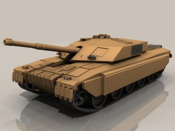 challenger tank 3d obj