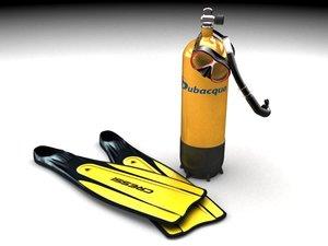 3d model diving bottle
