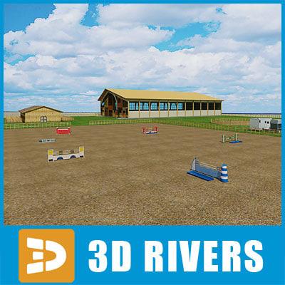 equestrian center buildings 3d model