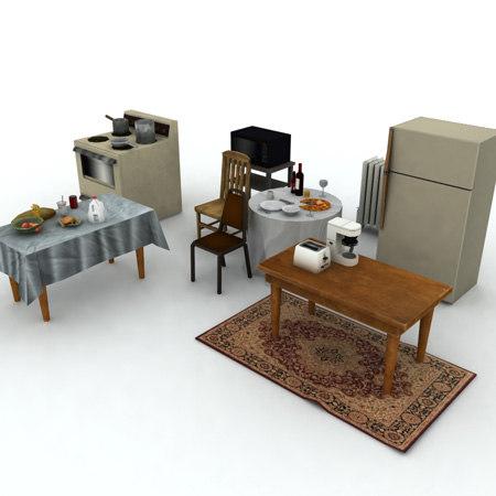 kitchen props pots 3ds