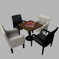 leather chairs table 3d model