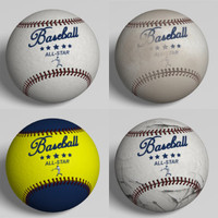 4 Low Polygon Baseballs