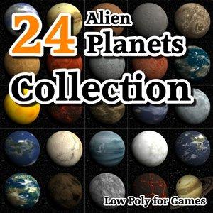 24 alien planets 3d model
