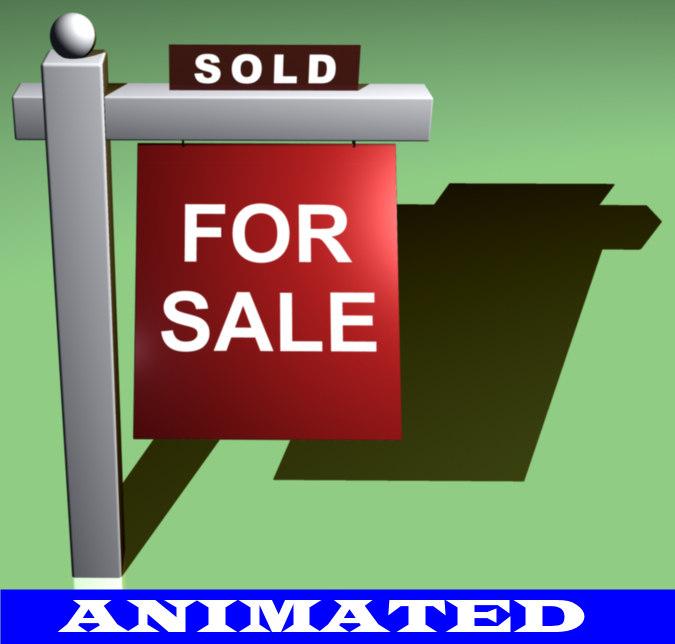 3d real estate sign model