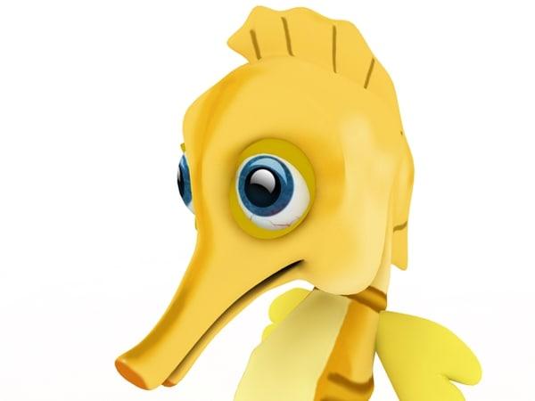 cartoon seahorse sea 3d model
