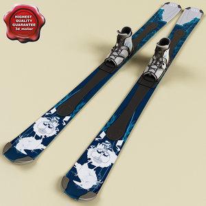 3d model skis modelled