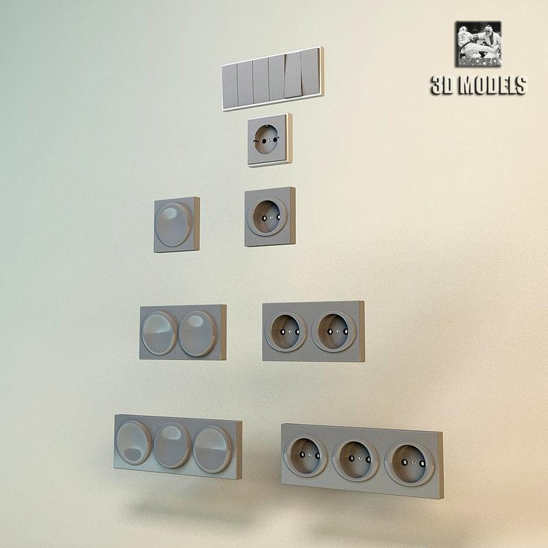 3d model sockets and