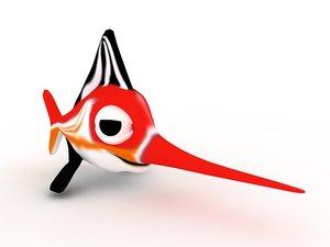 cartoon swordfish red fish 3d model