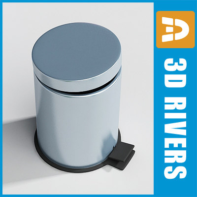 3d model metallic trash cans bin