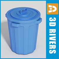 3d model plastic trash cans