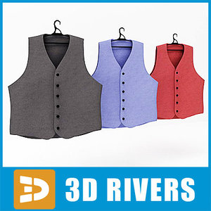 3d model of waistcoat set clothes