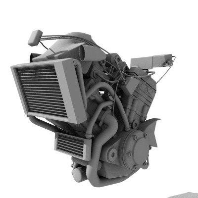 3d model v-tvin engine