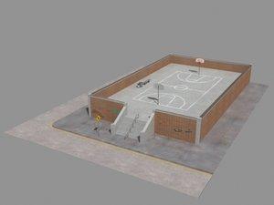 3d model basketball street scene court