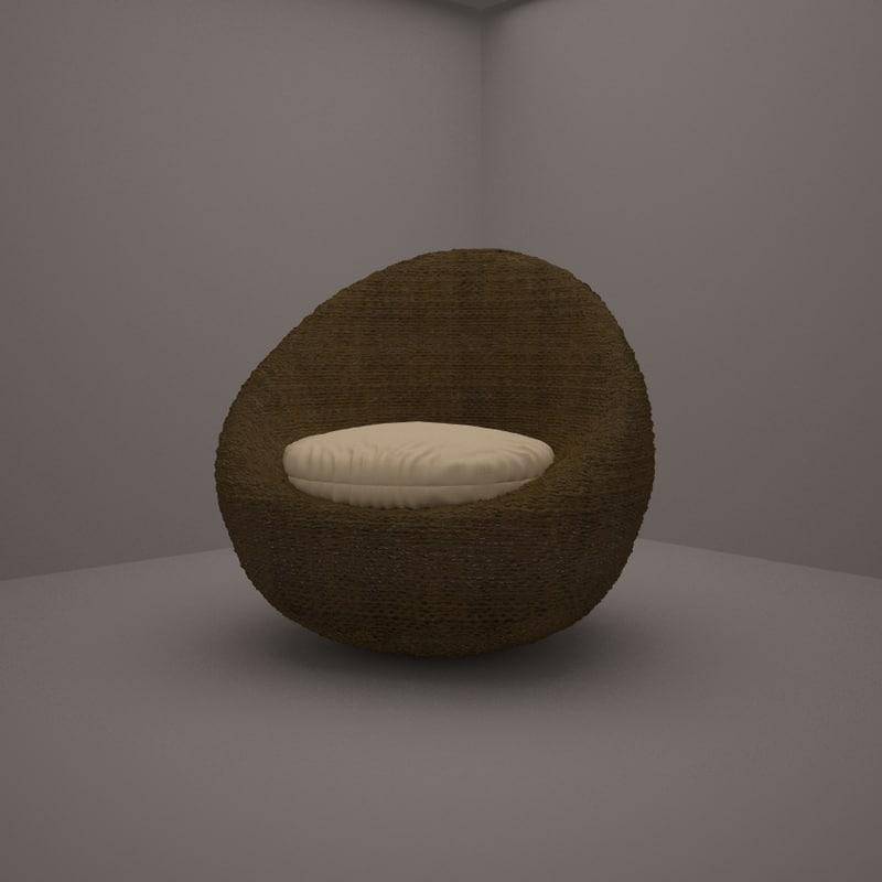 3ds rattan armchair sphere