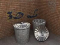 alley corner bins polys 3d model