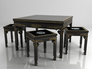 3d antiquarian little table chairs