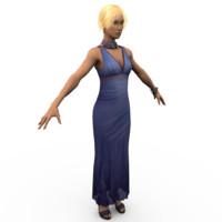 3d model of blonde girl