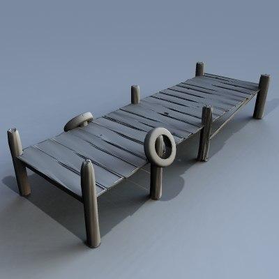 3d model old boat dock