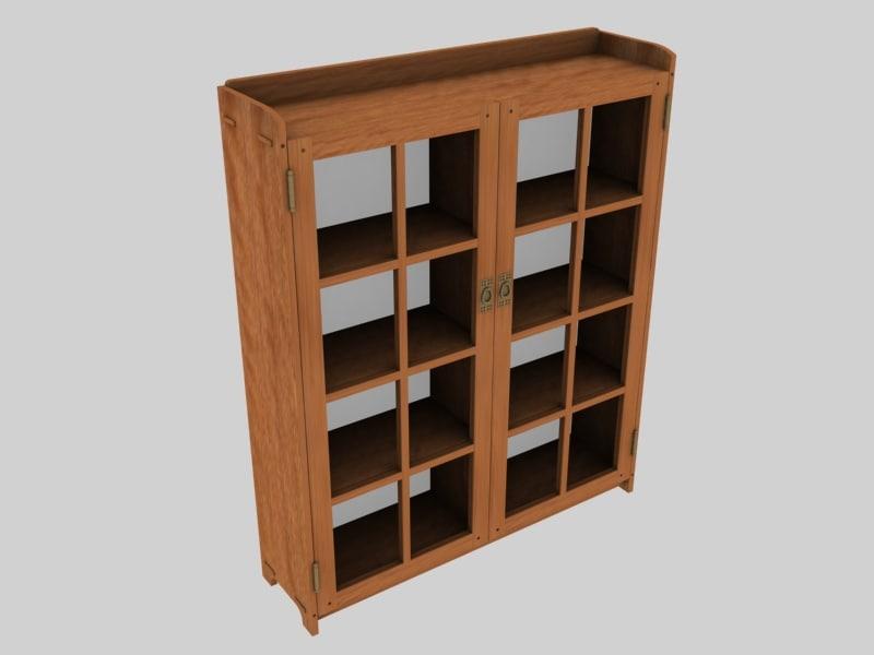 bookcase wooden arts 3d model