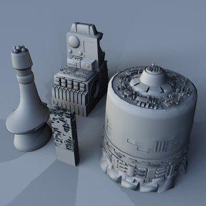 derelict space junk building 3d model