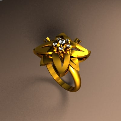 rhino flower gold ring