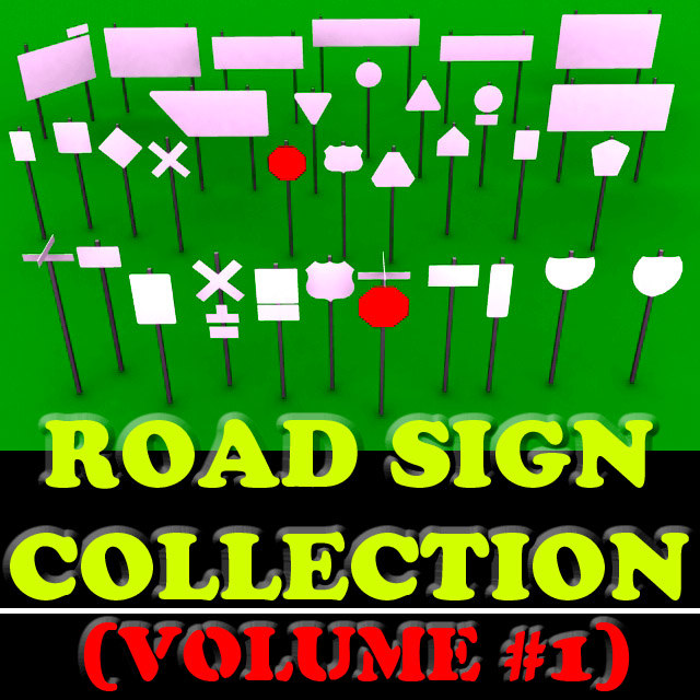 3d model collection-vol 1 33 road sign