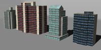 3d model distant buildings set