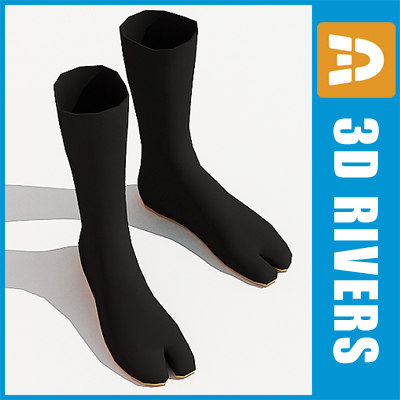 3d model of ninja shoes tabi