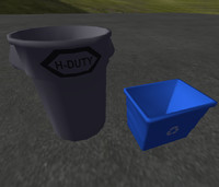 Low-Poly Industrial Garbage Bins