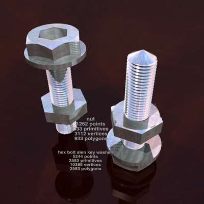 nut screws washers bolts 3d 3ds