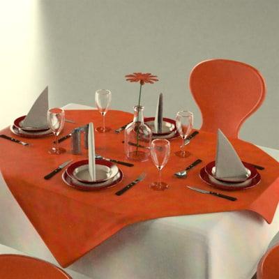 3d model table plates fork