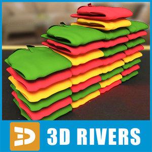 folded polo set 3d model