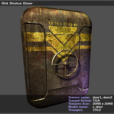 3d model old sluice door