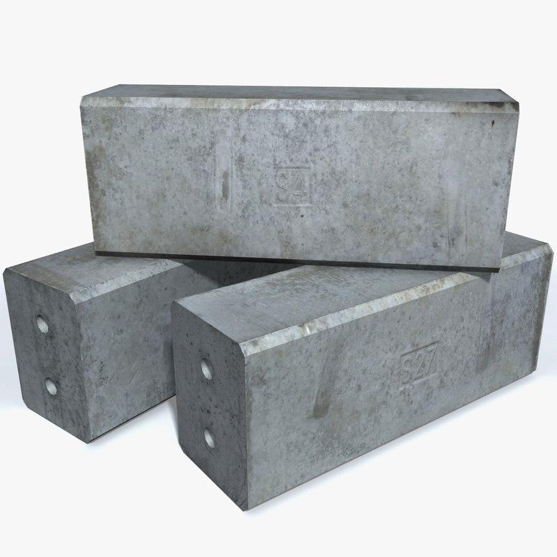 concrete construction blocks 3d 3ds